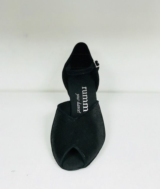 "Rummos R343-061-50-Ballroom Shoes 2"" Suede Sole Diva Leather-BLACK"