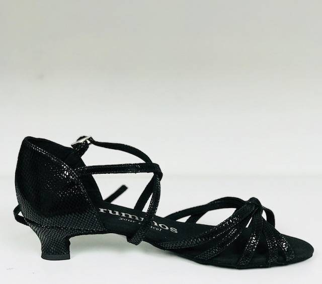 Rummos R319-052-40-Ballroom Shoes 1.3'' Suede Sole Snake Black Leather
