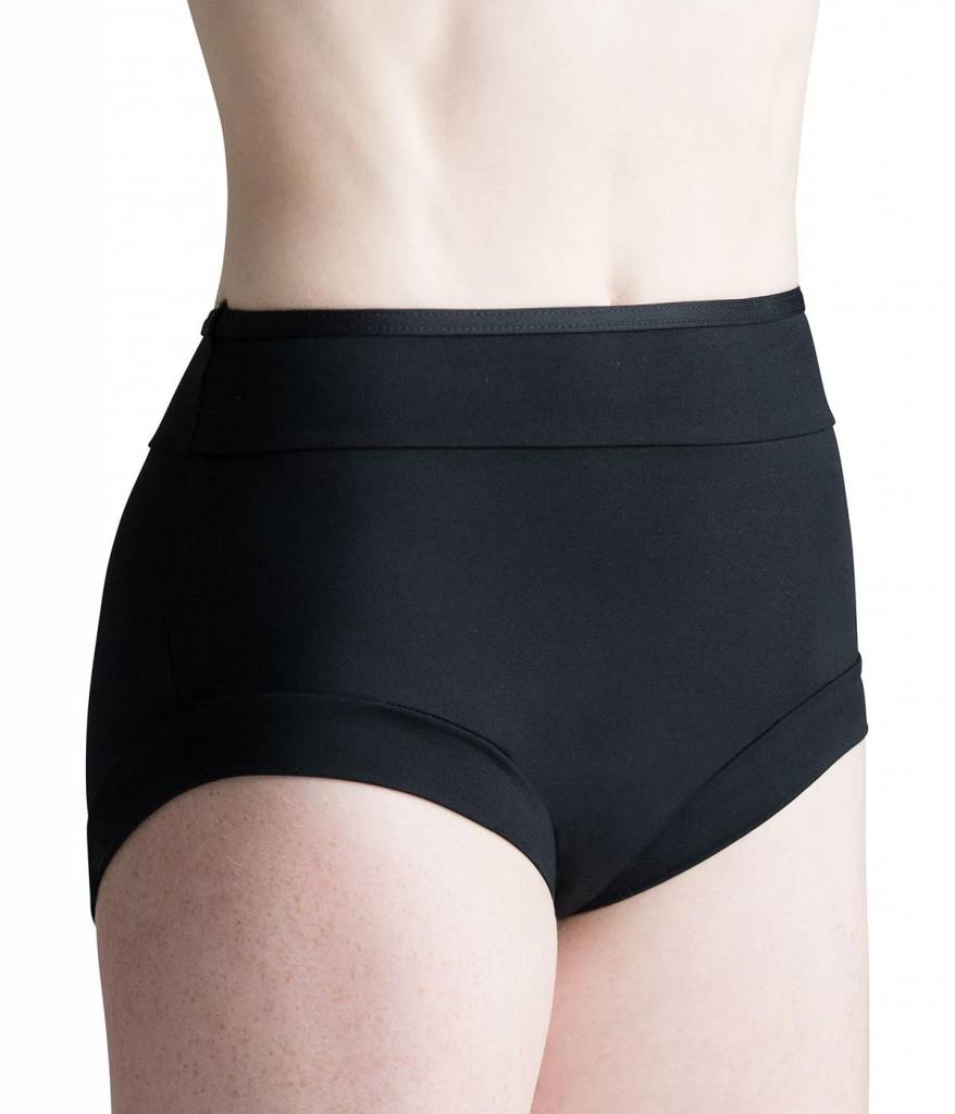 MotionWear 7073-497-Adult Boycut Banded Hi-Waist Briefs-BLACK