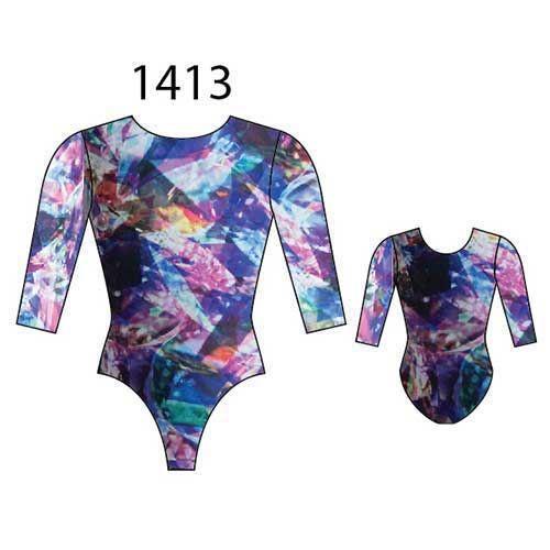 MotionWear 1413-888-3/4 Sleeve Gym Leotard-RADIANCE