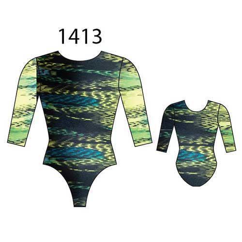 MotionWear 1413-551-3/4 Sleeve Gym leotard-SYNERGY