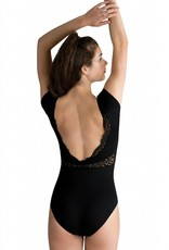 MotionWear 4479-131-Cap Sleeve Lace Leo-BLACK-XLA