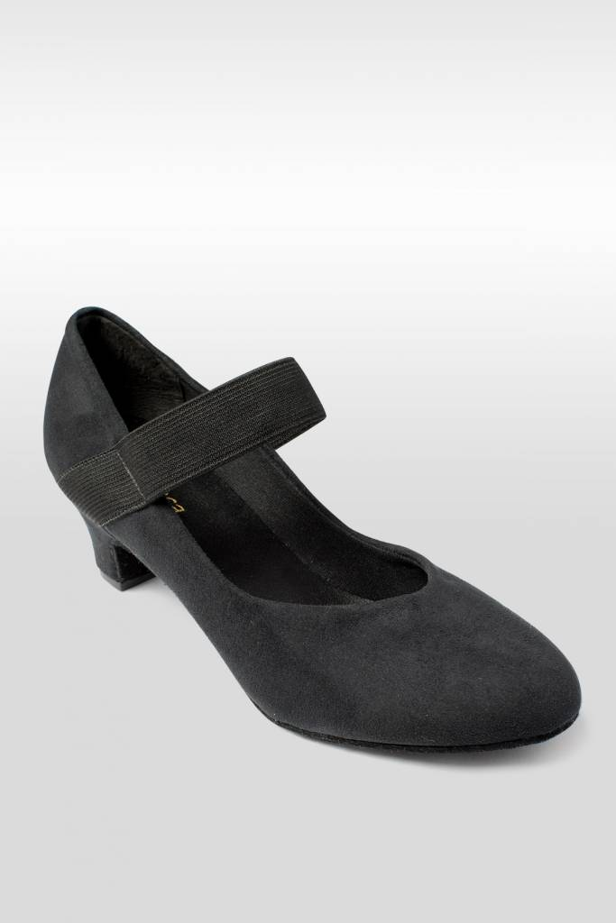 "SoDanca BL184-RAENI-Ballroom Shoes 1.5"" Suede Sole Micro-Suede Upper-BLACK"
