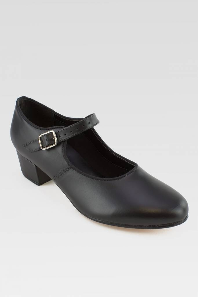 """SoDanca CH01-Character Shoes Cuban heel in Leather 1.25""""-BLK"""