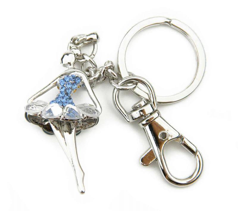 American Dance Supply 107-Crystal Tutu Ballerina Key Chain