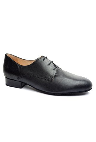 Merlet HEROLD-Ballroom Men Shoes 1'' Suede Sole Metis Leather-BLACK