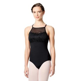Lulli Dancewear LUF-517-Camisole Leotard With Floral Lace-BLACK