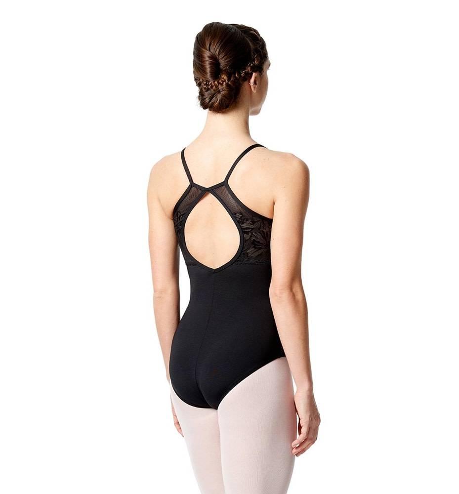 Lulli Dancewear LUF-517-Camisole Leotard With Floral Lace-BLACK