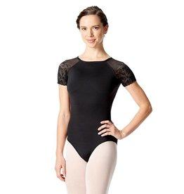Lulli Dancewear LUF-521-Short Sleeve Leotard With Floral Mesh-BLACK-XL