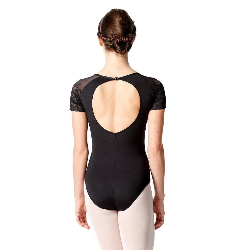 Lulli Dancewear LUF-521-Short Sleeve Leotard With Floral Mesh-BLACK-XL