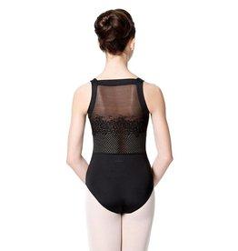 Lulli Dancewear LUF535-Wide Strap Leotard With Floral Mesh-BLACK