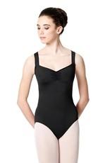 Lulli Dancewear LUF-535-Wide Strap Leotard With Floral Mesh-BLACK
