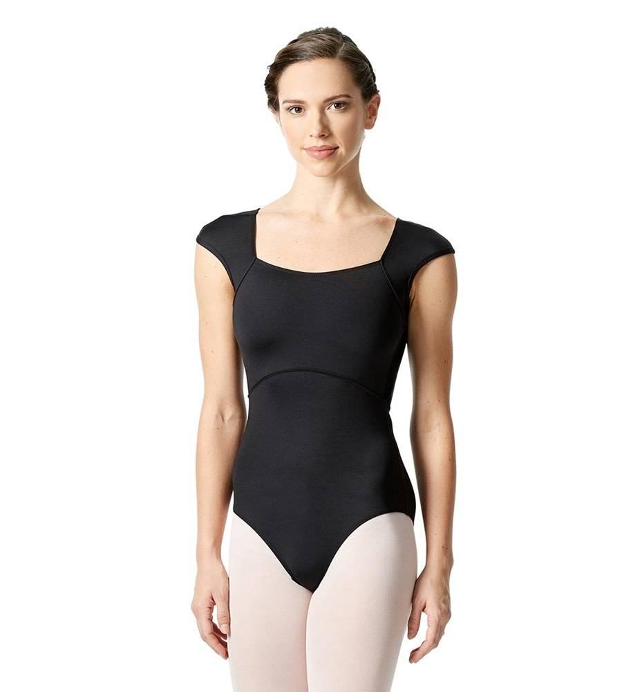Lulli Dancewear LUF-546-Cap Sleeve Leotard With Dagger Back Cut Out-BLACK