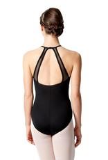 Lulli Dancewear LUF-549-Mesh Insert High Neck Leotard-BLACK
