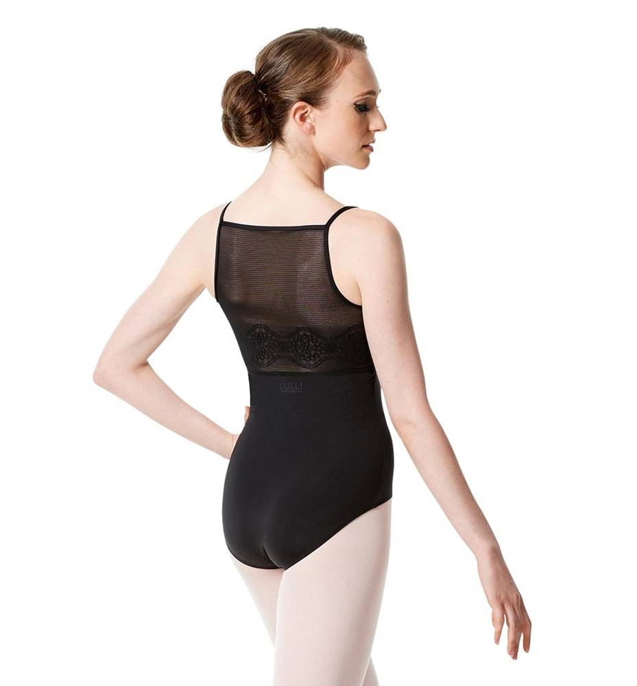 Lulli Dancewear LUF-556-Camisole Leotard Deco Mesh Back-BLACK