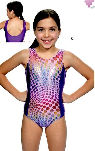 Basic Moves GY5864-Maillot de Gymnastique-ROSE/MAUVE-8-10