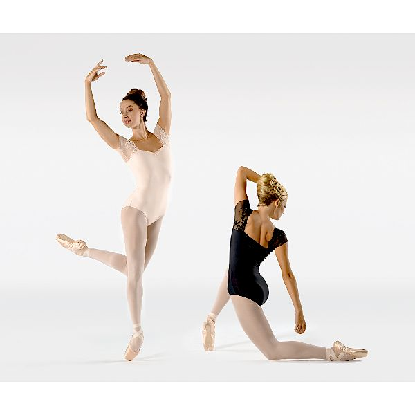Ballet Rosa JUSTINE-Short Sleeve Leotard With Floral Lace-NOIR