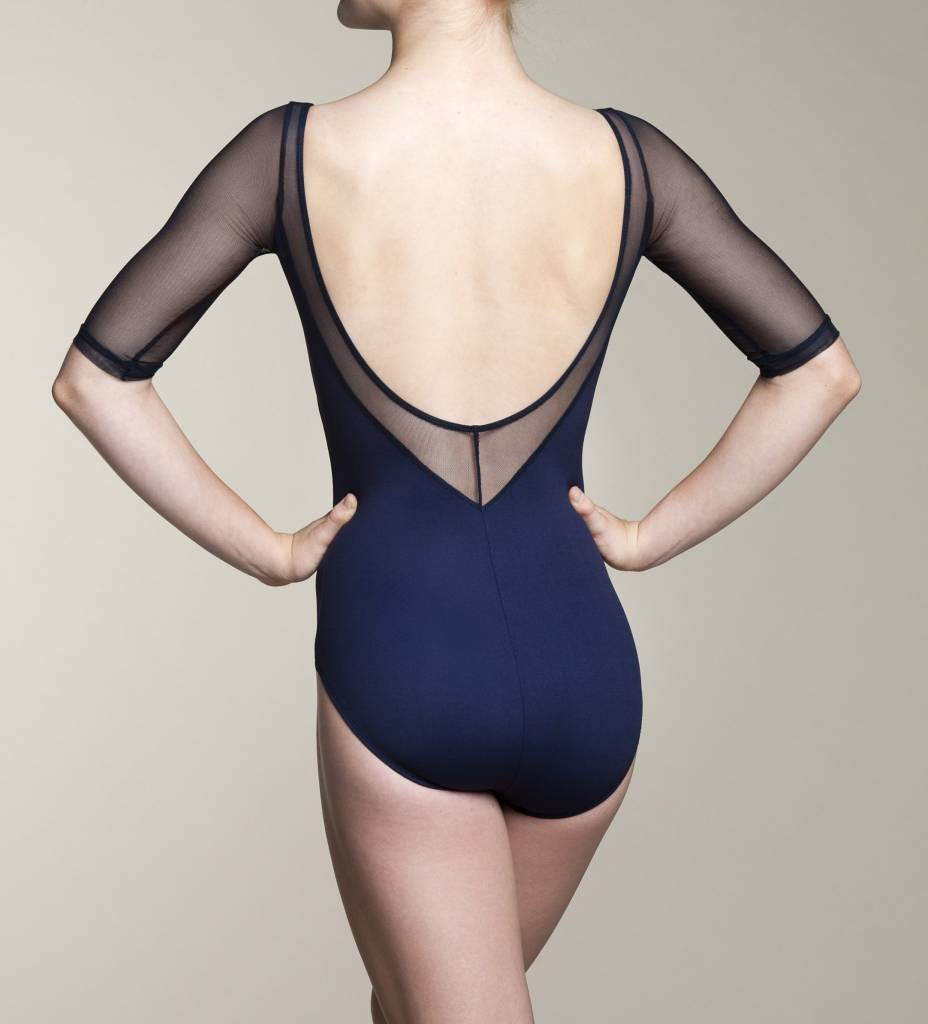 AinslieWear 128ME-Celeste With Mesh 3/4 Sleeve Leotard-BLACK