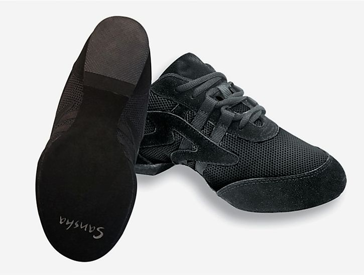 Sansha V931M-Salsette 1-Ballroom Practice Shoes Sneaker Suede Sole-BLACK