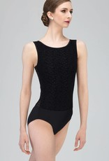 Wear Moi REGLISSE-Low Open Back Leotard With Fine Velour on Tulle-BLACK
