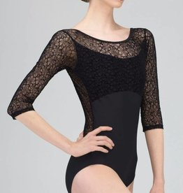 Wear Moi ROSALIE-3/4 Sleeve Low V-Back Leotard-BLACK