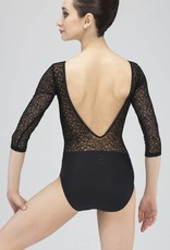 Wear Moi ROSALIE-3/4 Sleeve Low V-Back Leotard-BLACK-L