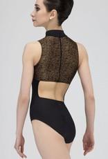 Wear Moi LC154-Mock Turtleneck Leotard-BLACK/GOLD-S