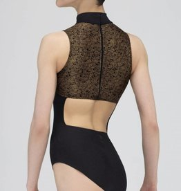 Wear Moi LC154-Mock Turtleneck Leotard-BLACK/GOLD