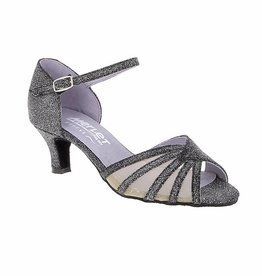 Merlet DANO-1446-817-Ballroom Shoe 2'' Suede Sole Silver Light Leather