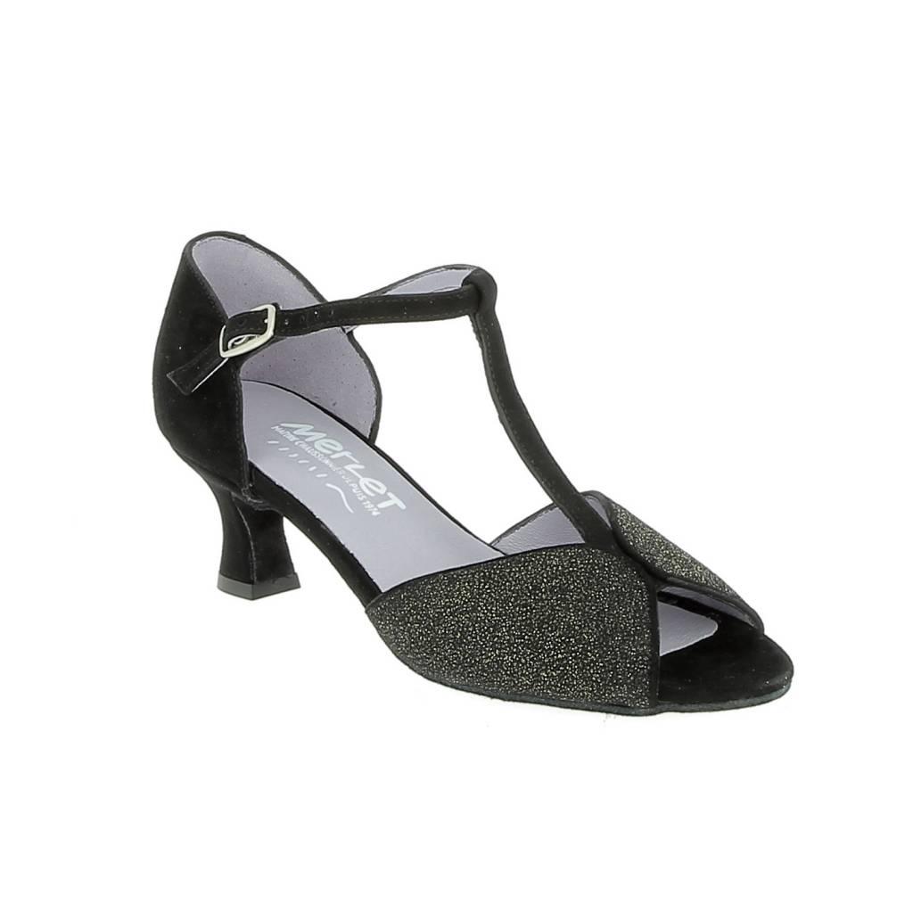 Merlet KATE-1404-085-Ballroom Shoes 2'' Suede Sole Velvet-BLACK/GOLD