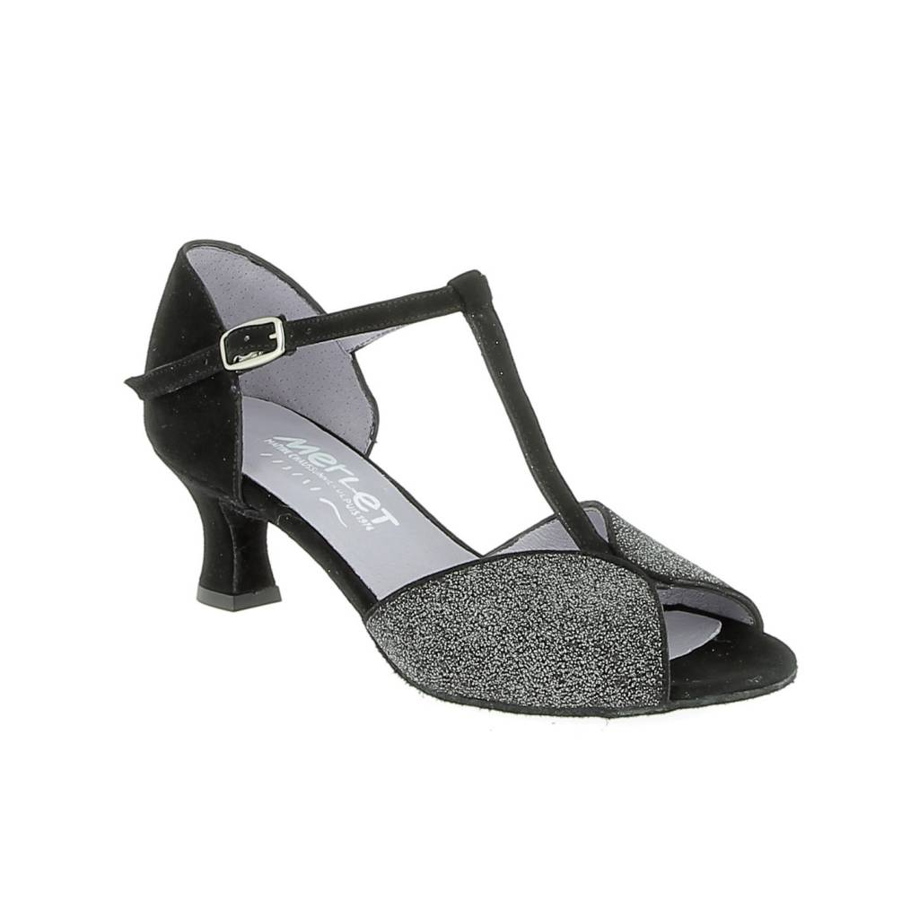 Merlet KATE-1404-083-Ballroom Shoes 2'' Suede Sole Velvet-BLACK/SILVER