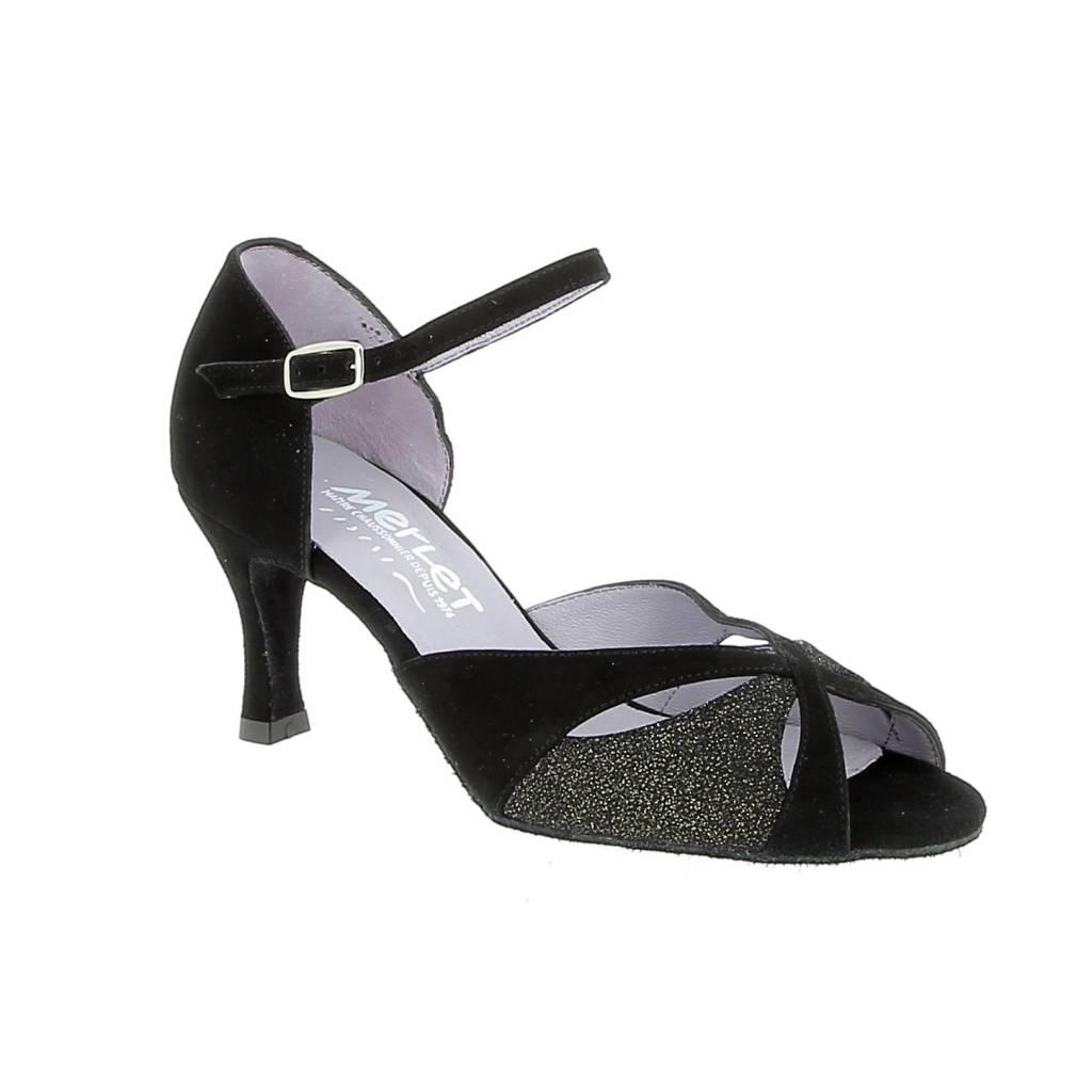 "Merlet SAPHIR-1404-085-Ballroom Shoes 2.5"" Suede Sole Velvet-BLACK/GOLD"