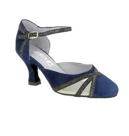 Merlet CHARMA-1404-644-Ballroom Shoes 2.5'' Suede Sole Velvet-NIGHT BLUE