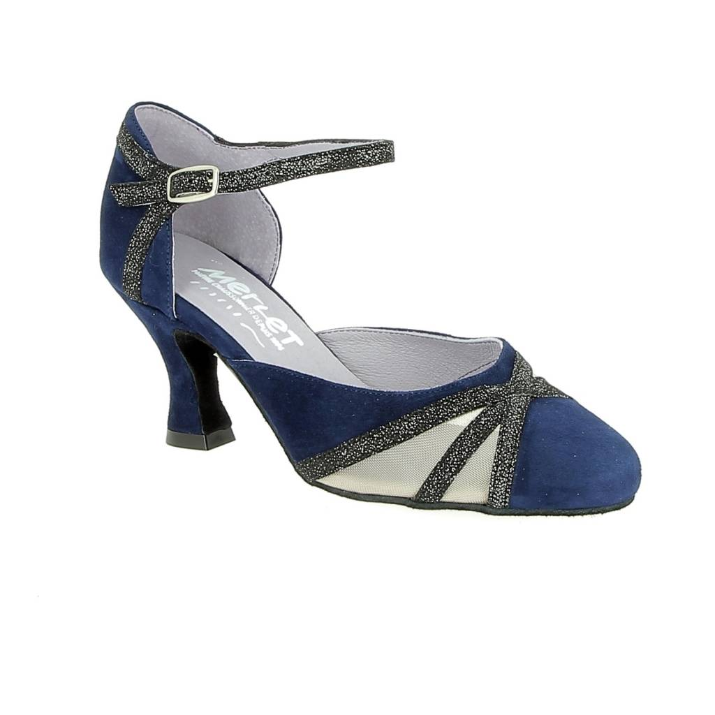 Merlet CHARMA-1404-644-Ballroom Shoes 2.5'' Suede Sole Velvet-NIGHT BLUE