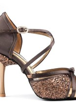 """Portdance PD801-Ballroom Shoes 2.5"""" Suede Sole Satin-BROWN"""