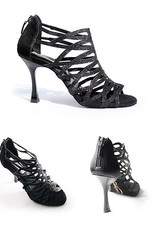 """Portdance PD803-Ballroom Shoes 2.75"""" Suede Sole Leather Satin Glitter-BLACK"""