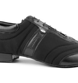"Portdance PD PIETRO BRAGA-Ballroom Men Shoes 1"" Suede Sole Leather /Lycra-BLACK"