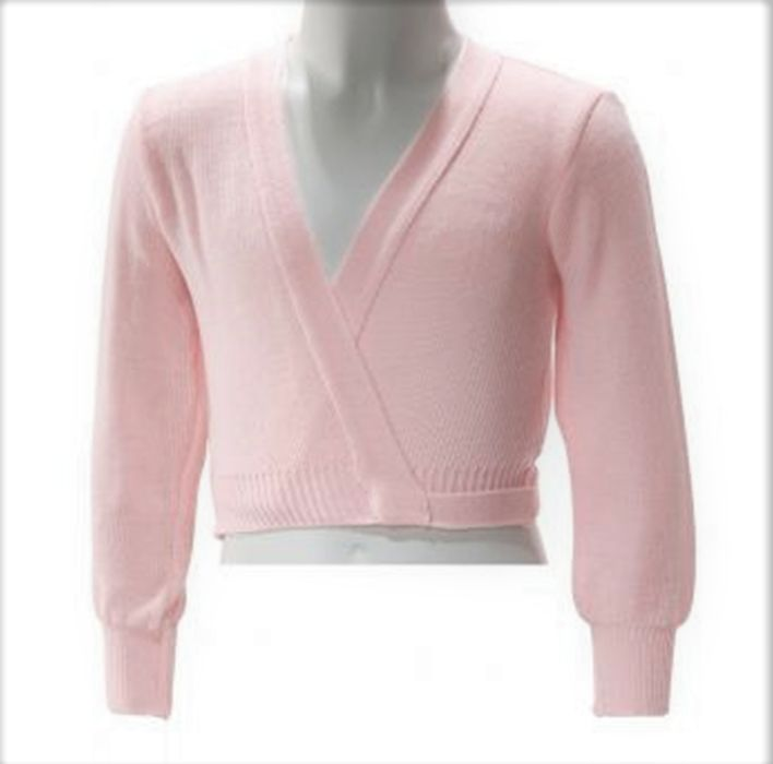 Intermezzo 6000-Long Sleeve Crossover Cardigan-PINK
