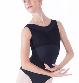 Intermezzo 31471-Open Back Leotard With Mesh Insert-BLACK