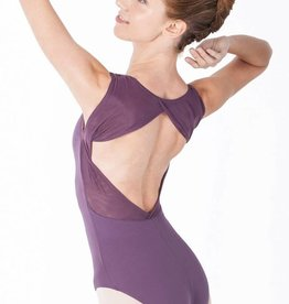 Intermezzo 31467-Pinch Front Mesh Open Back Leotard-BLACK