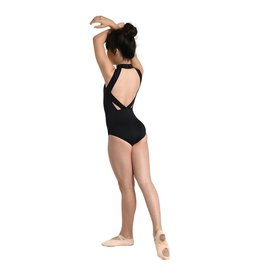 Danshuz 2704C-Mock Turtle Neck Leotard With Laser Cut Detail-BLACK