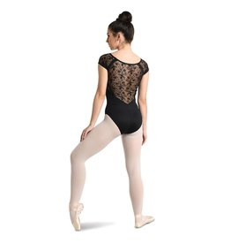 Danshuz 2737A-V-Neck Raglan Cap Sleeve Leotard With Lace-BLACK