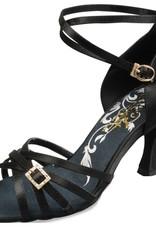 Ads / A Plus Dance Shoes A2006--Ballroom Shoes 2.5'' Suede Sole-BLACK SATIN