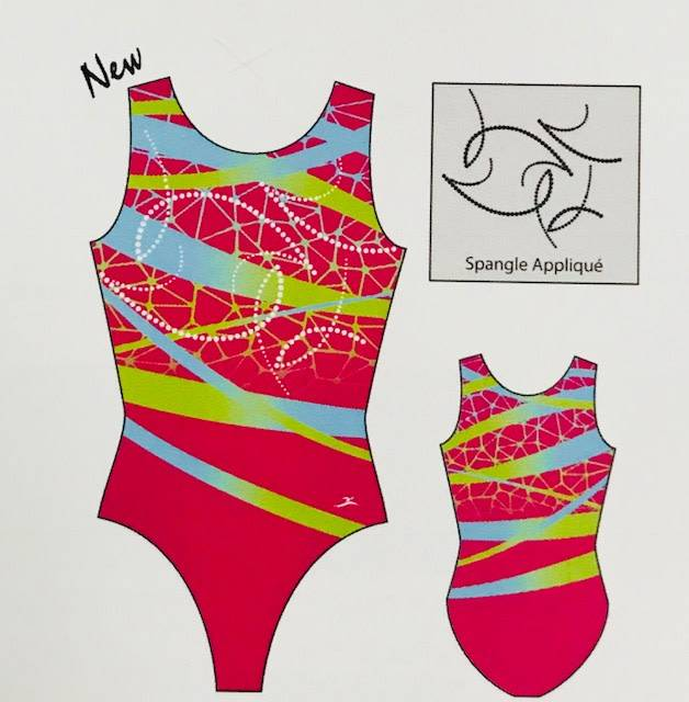MotionWear 1356-812-Crackle Ribbon Gym Tank Leotard Pink