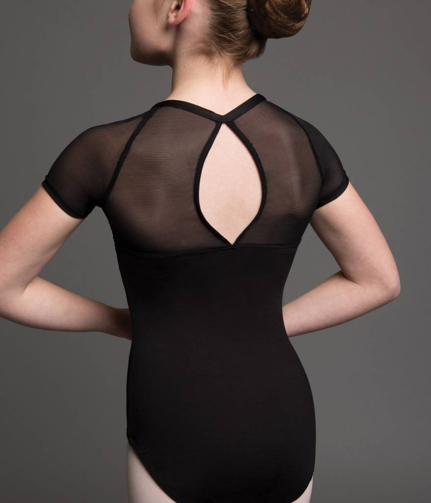 MotionWear 2911-Gathered Wrap Front Cap Sleeve Leotard