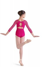 Bloch CL9906-Selene Diamond Mesh 3/4 Sleeve Keyhole Bow Back Leotard