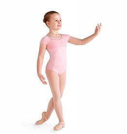 Bloch CL9932-Brielle Diamond Mesh Bodice and Back Cap Sleeve leotard-PINK