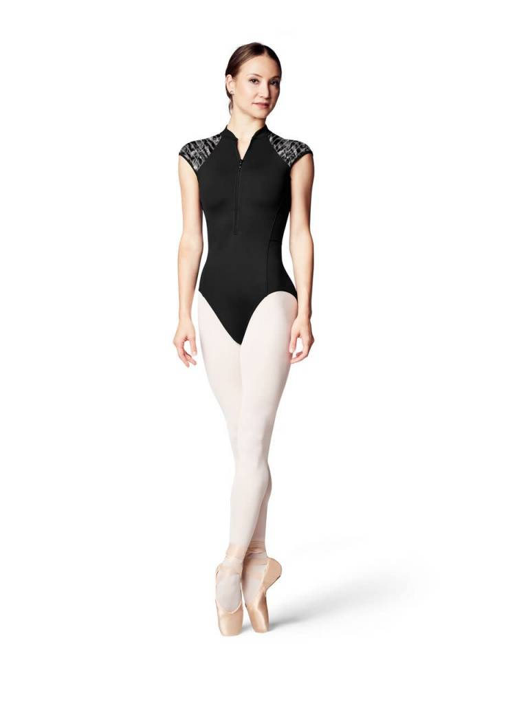Bloch L9942-Carolein Zipper Front Printed Stripe mesh Cap Sleeve leotard-BLACK/LILY-LARGE