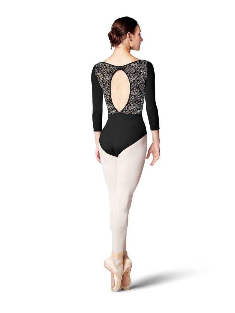 Bloch L8926-Candace Boat Neck Printed Stripe Mesh 3/4 Sleeve leotard-BLACK/LILY