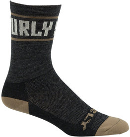 Surly Surly Sports Logo Wool Socks - 6 inch, Black/Cream, Large